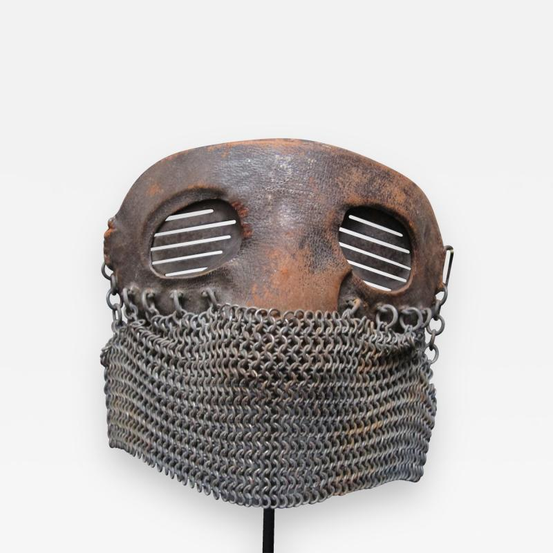 Tank Operators Mask from WWI of Iron Leather and Chain Mail