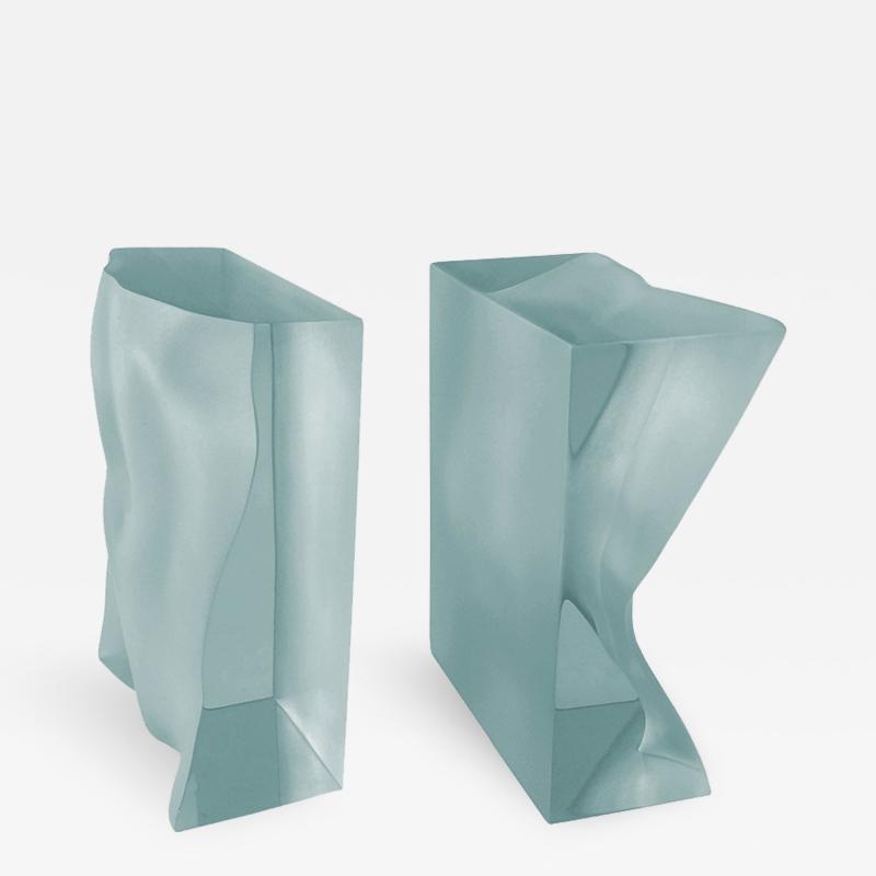 Tanya Ragir Pair of Bookends Sculpture in Aqua Lucite by Tanya Ragir
