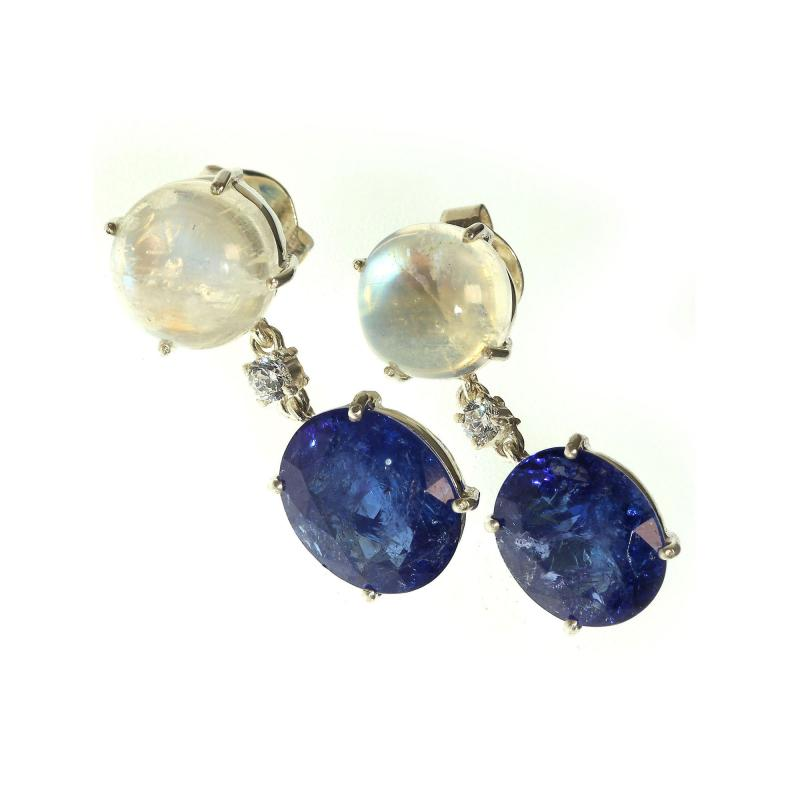 Tanzanite and Moonstone Nautical Collection Earrings from Gemjunky