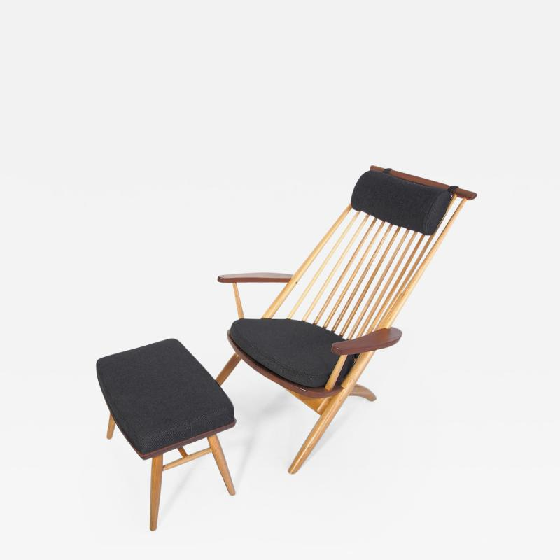 Tateishi Shoiji Tateishi Shoiji Oak and Walnut Easy Chair and Stool
