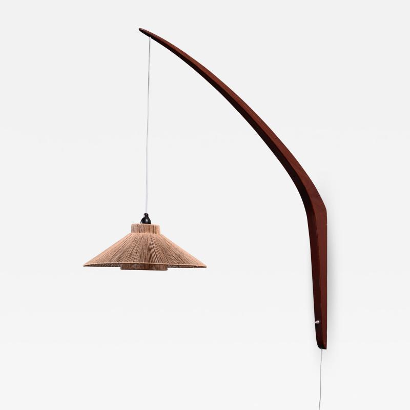 Teak boomerang wall lamp with rope shade 1950s
