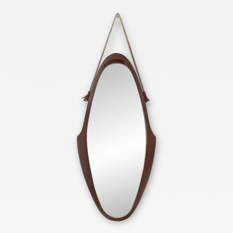 Teak oval mirror 1960s