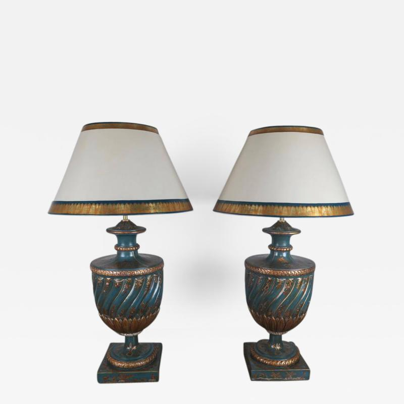 Teal and Gold Chinoiserie Painted Colored Lamps Pair