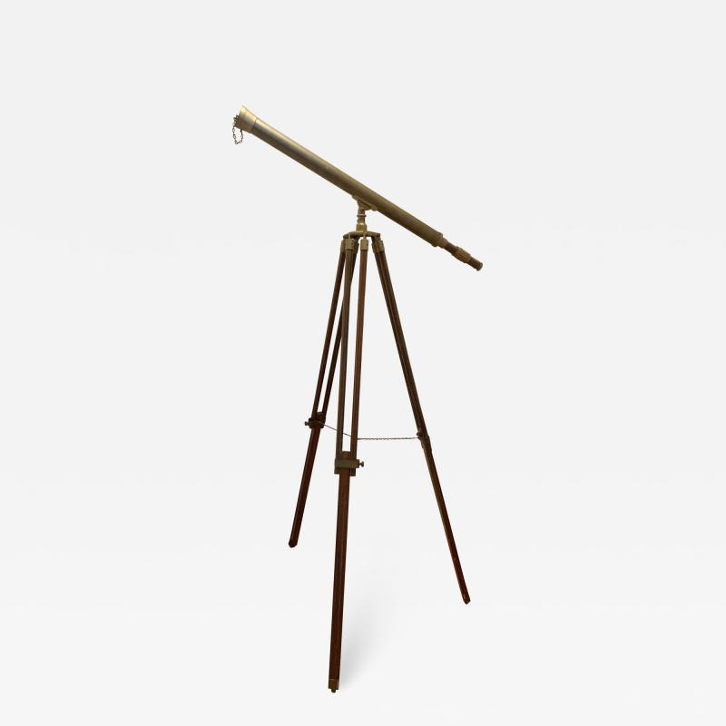 Telescope with Adjustable Wooden Legs and Brass Hardware