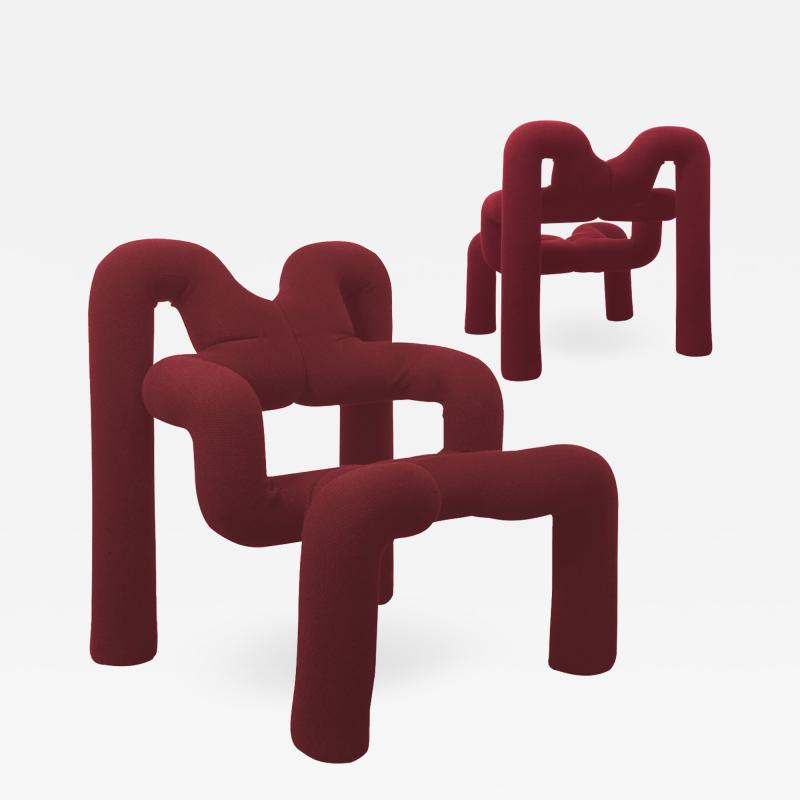 Terje Ekstrom Pair of Iconic Burgundy Armchairs by Terje Ekstrom Norway 1980s