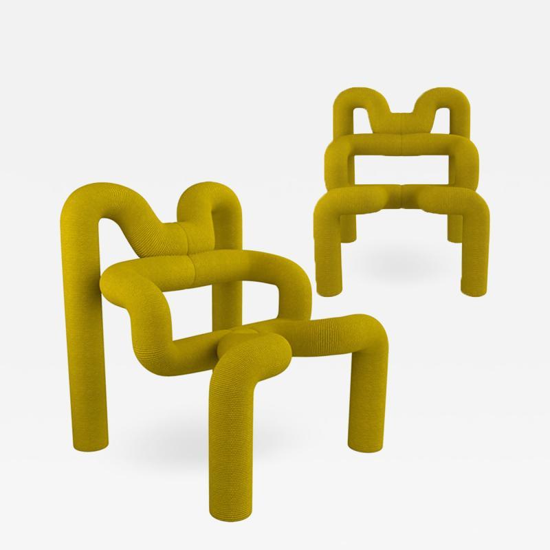 Terje Ekstrom Pair of Iconic Yellow Lounge Chairs by Terje Ekstrom Norway 1980s
