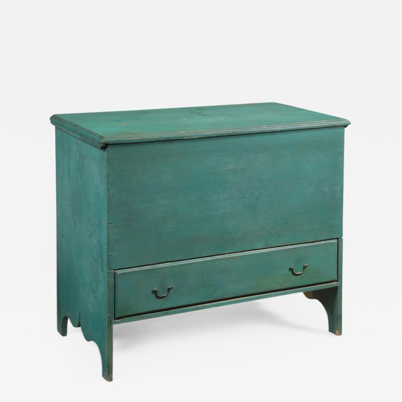 The Batchelder Family Queen Anne Teal Painted Blanket Chest