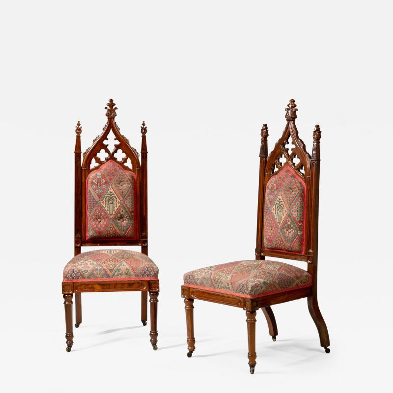 Thomas Brooks Pair of Gothic Revival Carved Rodewood Slipper Chairs