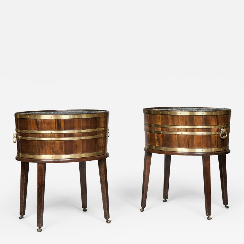 Thomas Chippendale Antique English Rare Pair of Georgian Period Oval Wine Coolers Jardinieres
