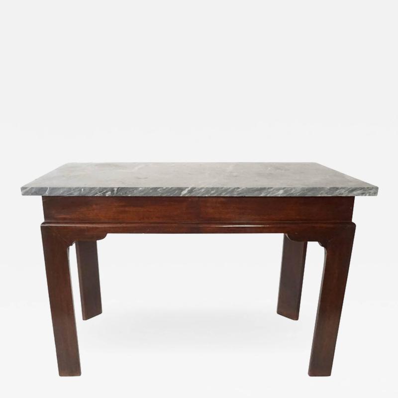 Thomas Chippendale English Georgian Marble Top Mahogany Slab or Side Table