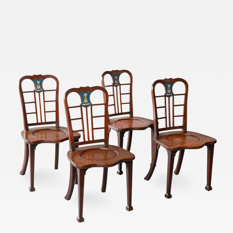 Thomas Chippendale Exceptional Set of Four George II Mahogany Hall Chairs
