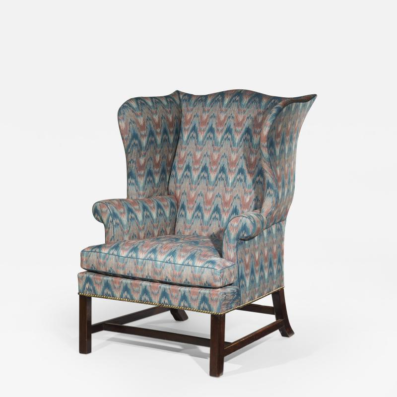 Thomas Chippendale Fine 18th Century English Chippendale Wingback Armchair in Flamestitch Fabric