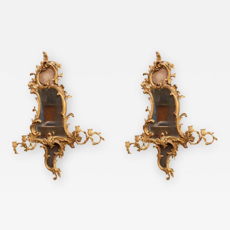 Thomas Chippendale Fine Pair of George III Giltwood Girandole Mirrors