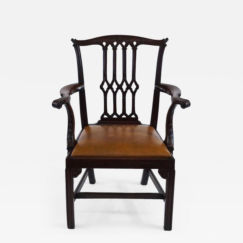 Thomas Chippendale Gothic Chippendale Mahogany Armchair