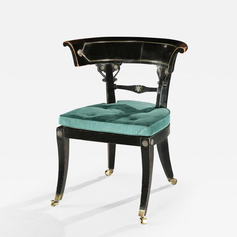 Thomas Hope English Regency Period Ebonised Library Chair