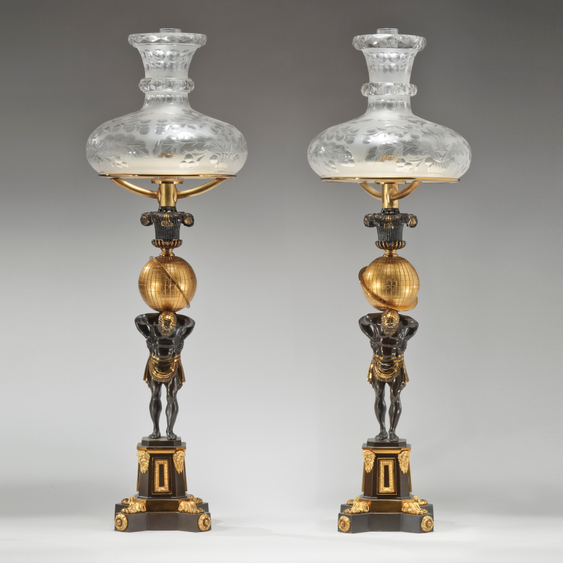 Superb Thomas Messenger Sons Pair Of Lacquered Brass Sinumbra Argand Lamps With  Atlas Bases