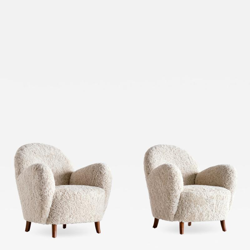 Thorald Madsens Pair of Thorald Madsen Armchairs in Sheepskin and Beech Denmark Mid 1930s