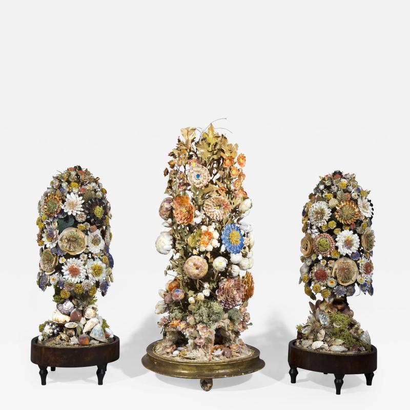Three 19th Century Shellwork Flower Sculptures