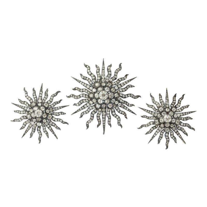Three Antique Diamond Sunburst Brooches