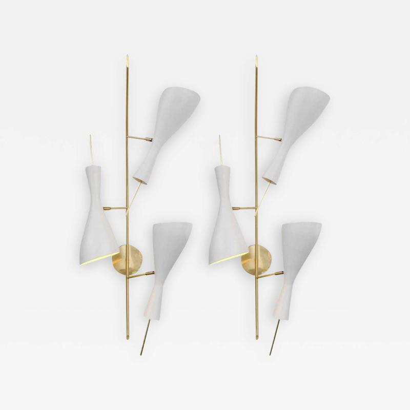 Three Brass and White Metal Shade Midcentury Style Sconces