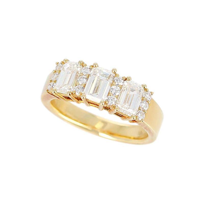 Three Emerald Cut Diamond Wedding Ring with Round Diamonds 18 Karat Yellow Gold
