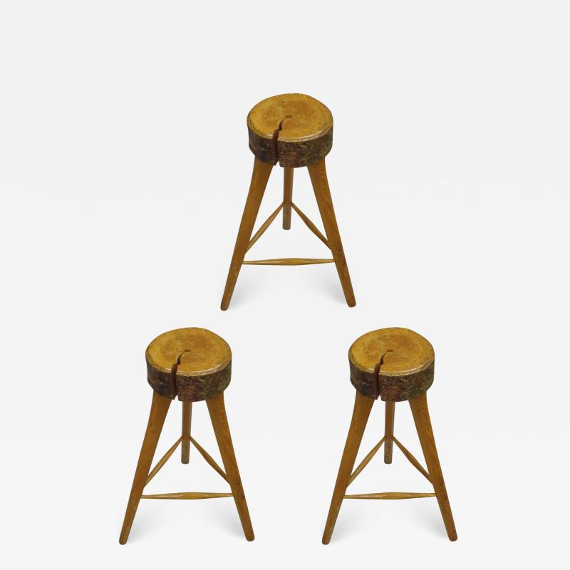 Three French Mid Century Modern Brutalist Style Wood Bar Stools