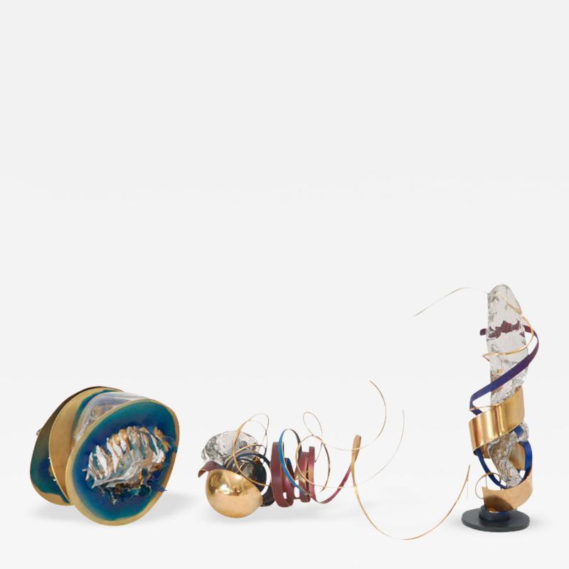 Three Metal Glass Sculptures