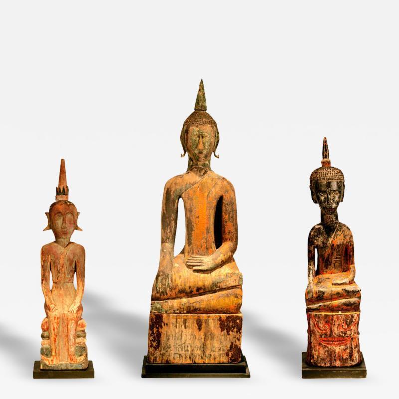 Three Village Buddha Statues from Laos