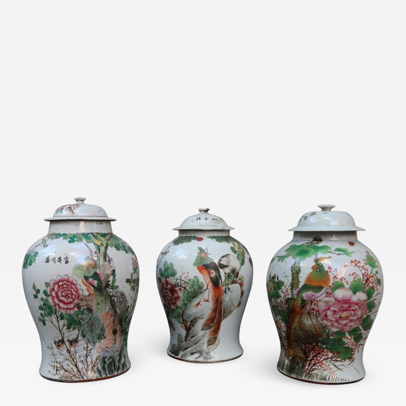 Three porcelain vases China XIXth century