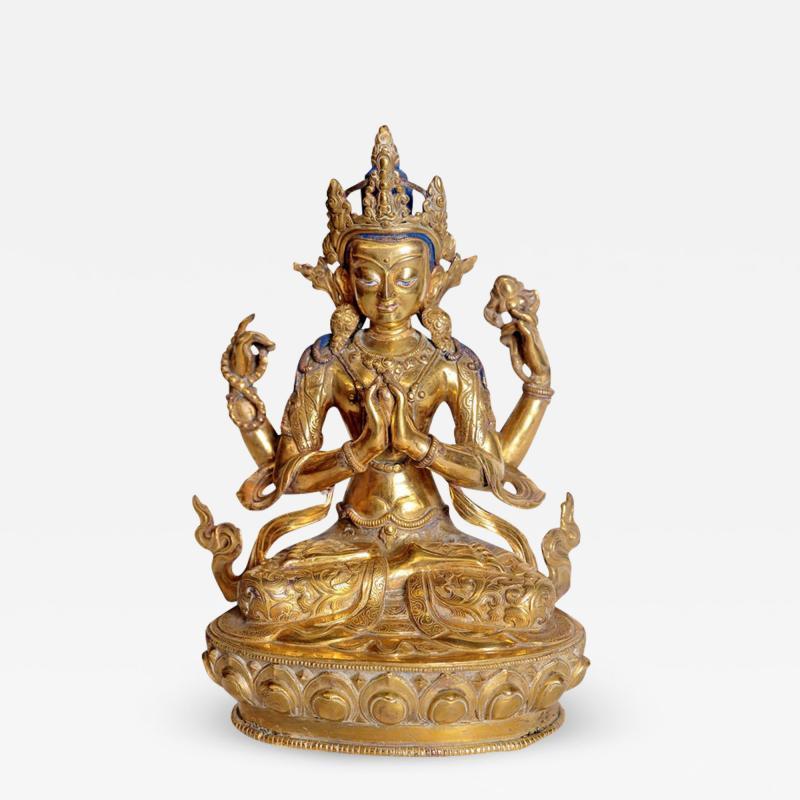 Tibetian Buddhist Deity Chenrezig Four Armed Avalokiteshvara