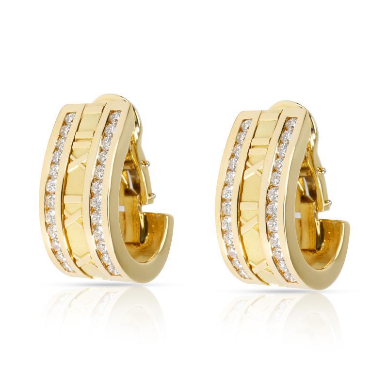Tiffany Co Atlas Numeric Diamond Earrings in 18K Yellow Gold 1 6 CTW
