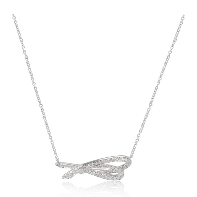Tiffany Co Diamond Bow pendant in 18k white gold 0 37 ctw
