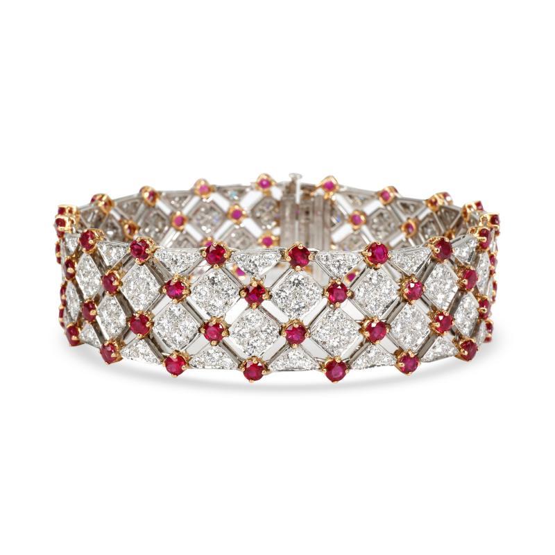 Tiffany Co Diamond Ruby Bracelet in 18K Yellow Gold Platinum 10 82 CTW