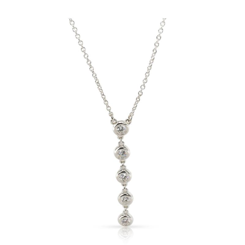 Tiffany Co Diamonds By The Yard Diamond Necklace in Sterling Silver 0 25 CTW
