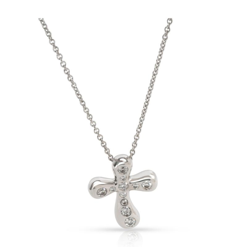 Tiffany Co Elsa Peretti Diamond Cross Pendant in Platinum 0 25 CTW