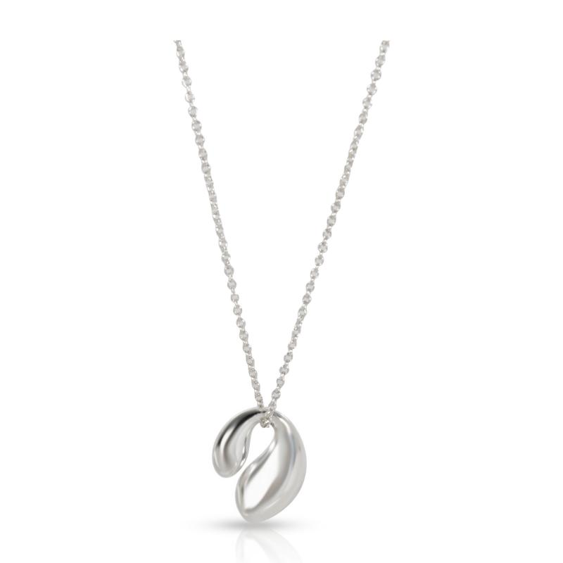 Tiffany Co Elsa Peretti Double Teardrop Necklace in Sterling Silver
