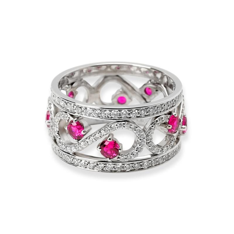 Tiffany Co Enchant Diamond Ruby Ring in 18K White Gold