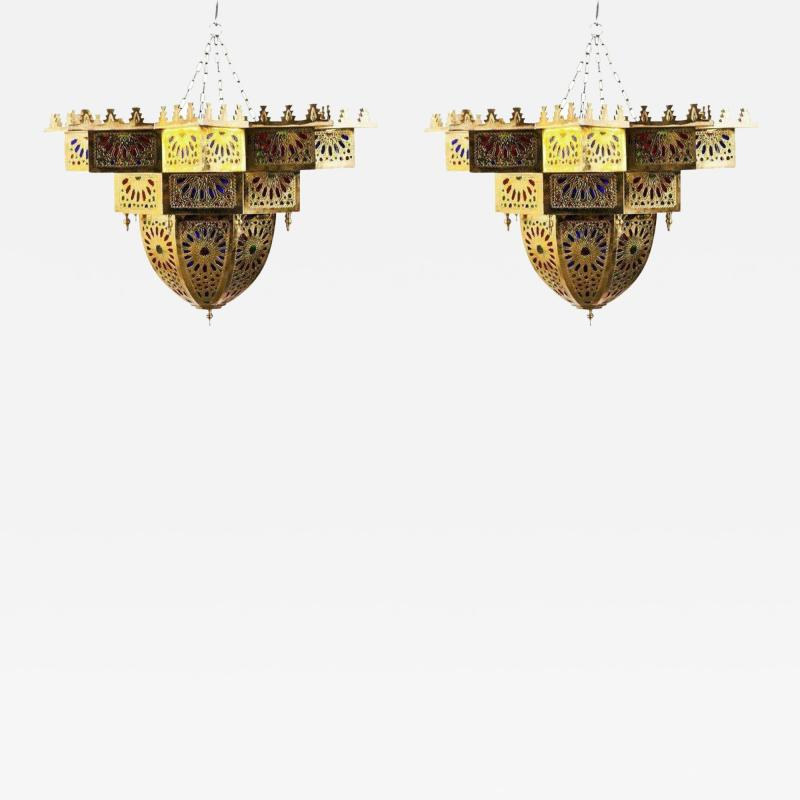 Tiffany Co Fashioned Brass and Colored Glass Chandelier a Pair
