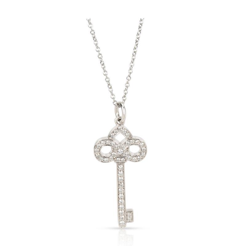 Tiffany Co Fleur De Lis Diamond Key Pendant Necklace in Platinum 0 12 ctw