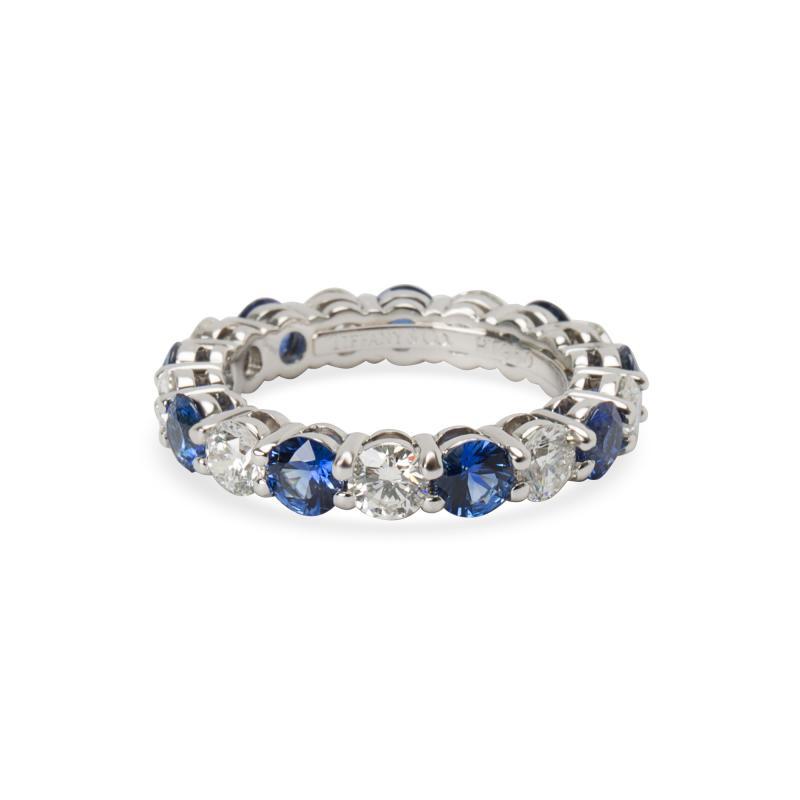 Tiffany Co Large Embrace Diamond Sapphire Band in Platinum 3 24 CTW