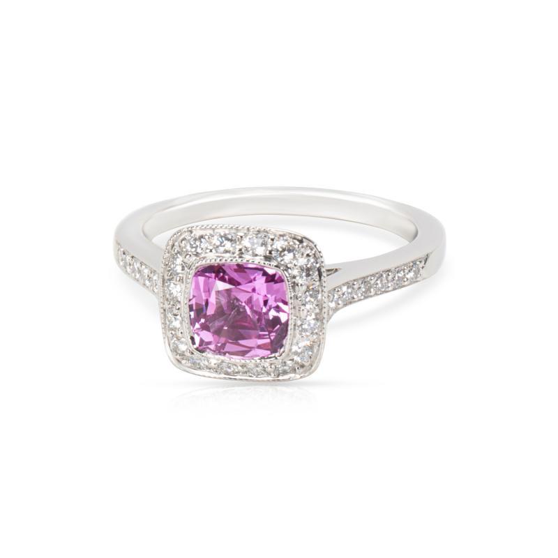 Tiffany Co Legacy Pink Sapphire Diamond Ring in Platinum
