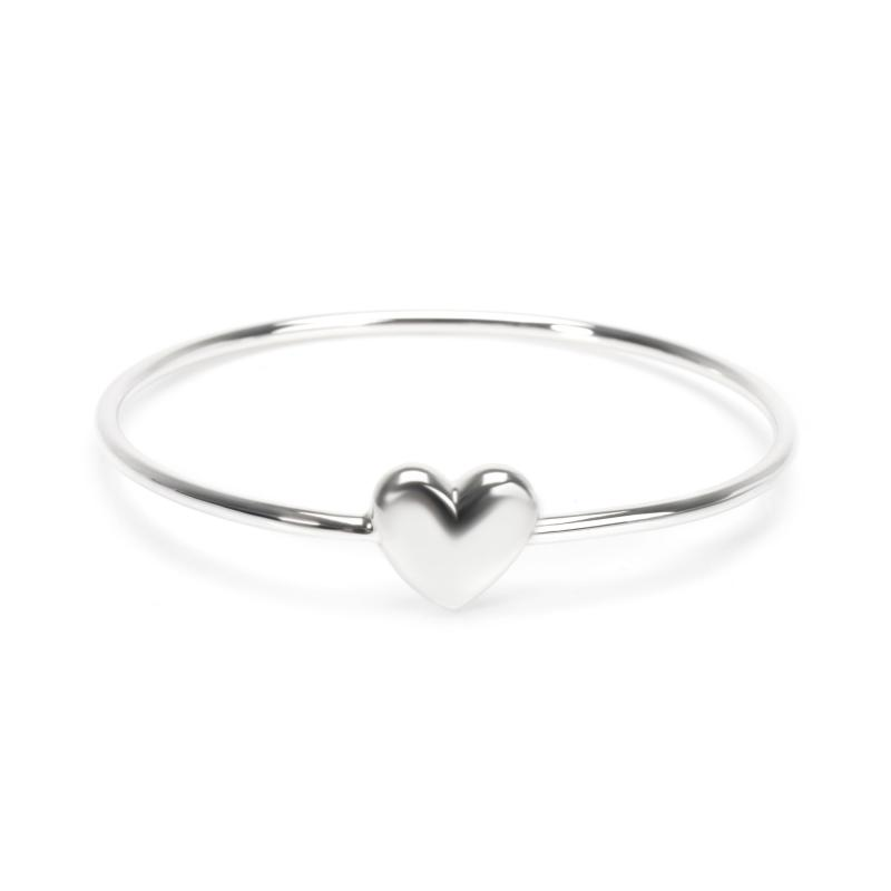 Tiffany Co Puffed Heart Bangle in Sterling Silver