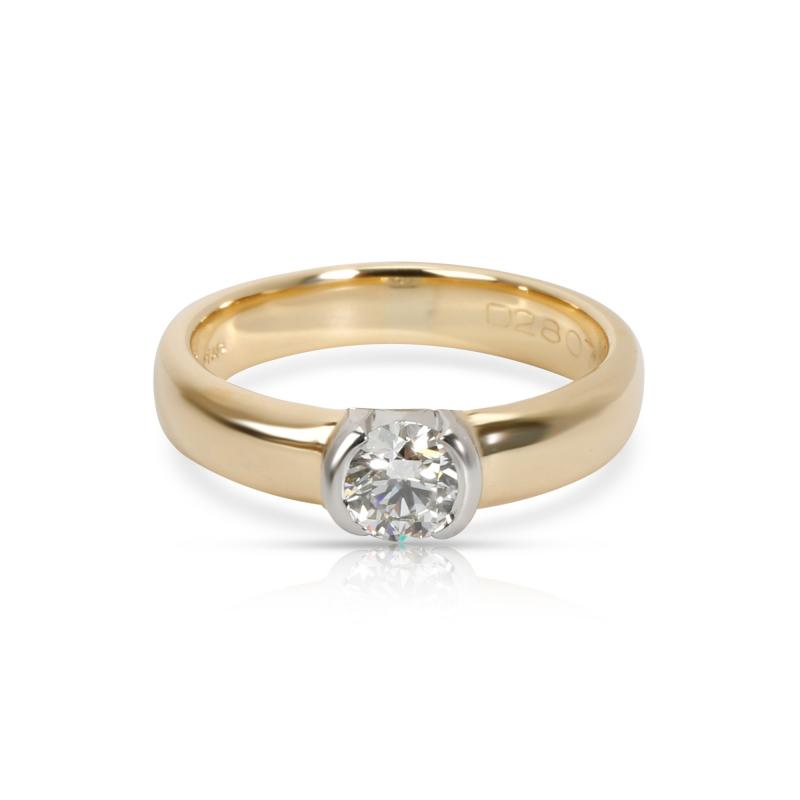 Tiffany Co Semi Bezel Diamond Engagement Ring in 18K 2 Tone Gold 0 35 CTW