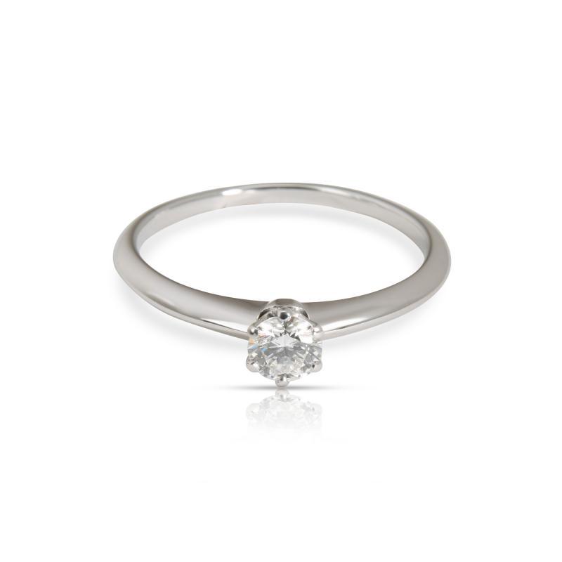 Tiffany Co Solitaire Diamond Engagement Ring in Platinum F VS2 0 34 CTW