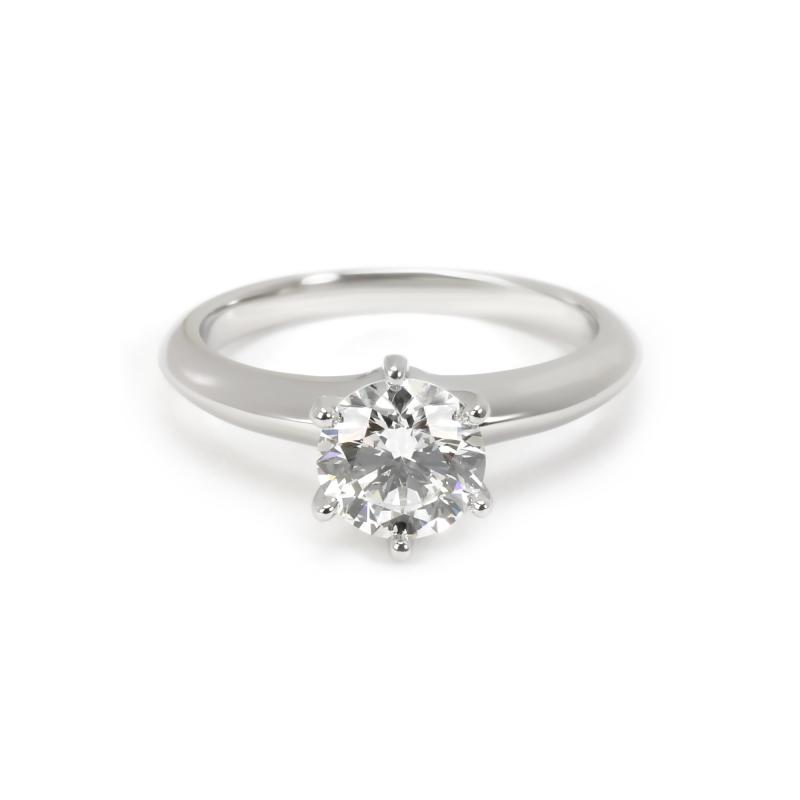 Tiffany Co Solitaire Diamond Engagement Ring in Platinum H VS1 1 02 CTW