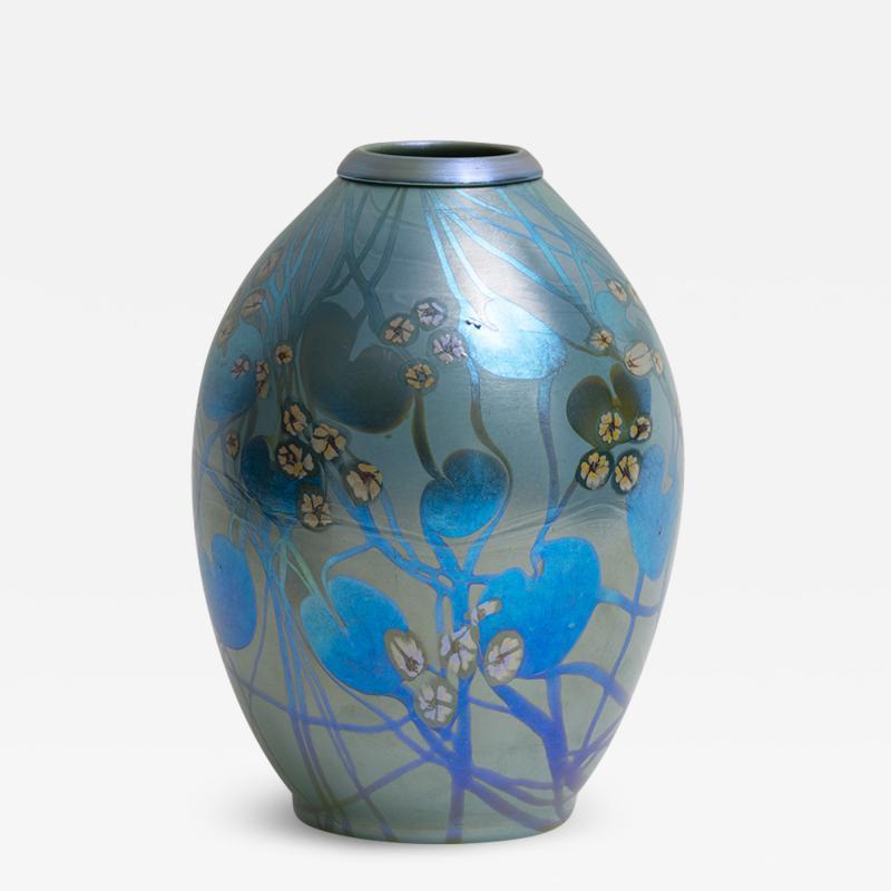 Tiffany Studios Decorated Iridescent Favrile Glass Vase
