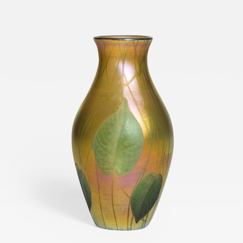 Tiffany Studios Favrile Glass Vase with Wheel Carved Leaves and Vines