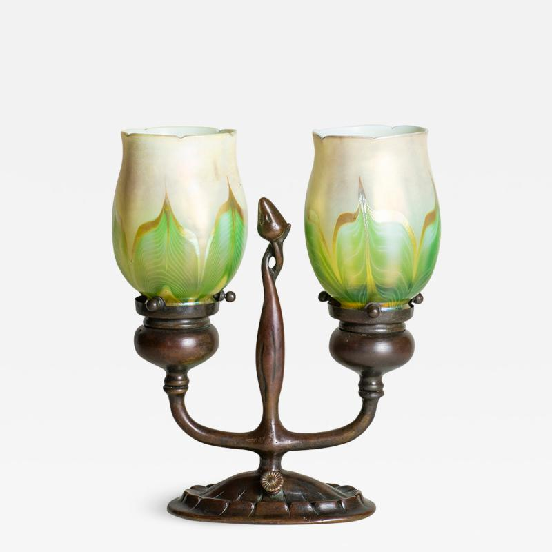 Tiffany Studios Rare Electrified Candle Lamp