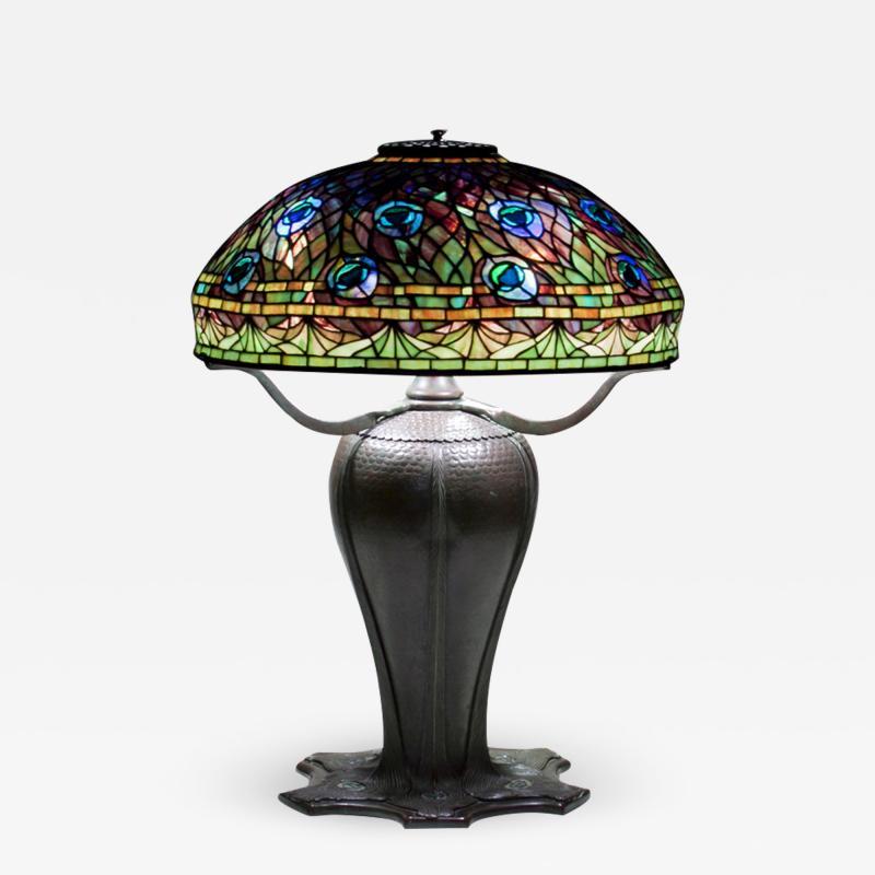 Tiffany Studios Rare Peacock Table Lamp