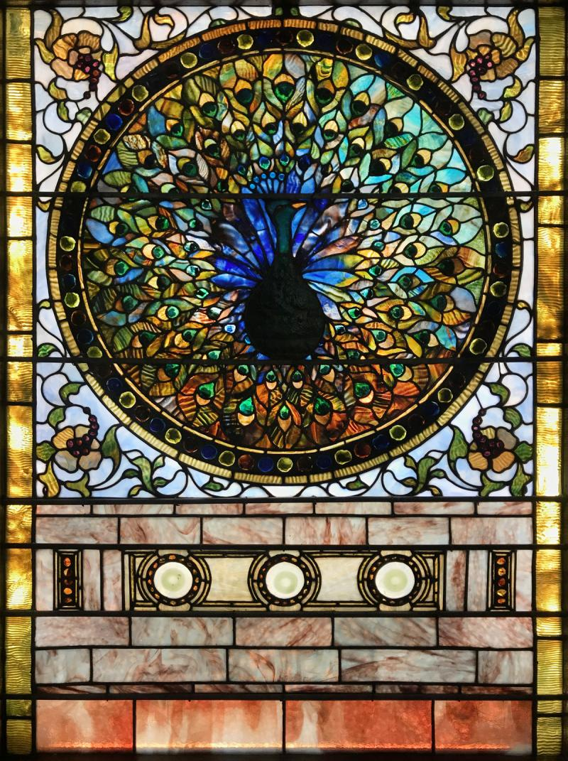 Tiffany Studios Rare Peacock Window
